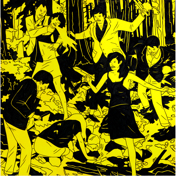Cleon  Peterson -  <strong>Vicious 3</strong> (2009<strong style = 'color:#635a27'></strong>)<bR /> spray paint and acrylic on panel,   17 x 17 inches [43.2 x 43.2 cm]
