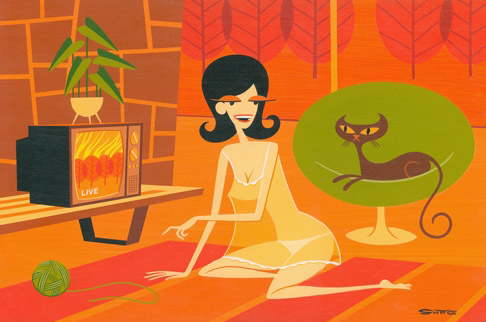 Josh  Agle (Shag) -  <strong>Coco</strong> (2006<strong style = 'color:#635a27'></strong>)<bR /> Acrylic on Panel,   12 x 18 inches