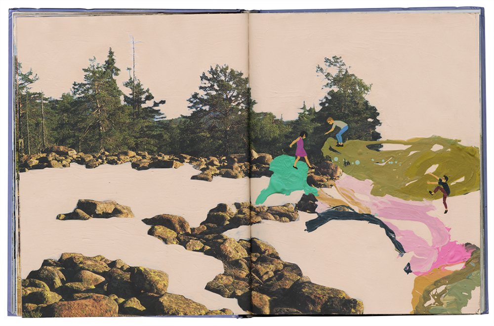 Seonna  Hong -  <strong>Continental Drift</strong> (2015<strong style = 'color:#635a27'></strong>)<bR /> acrylic on book,   11.5 x 18 inches  (29.21 x 45.72 cm)