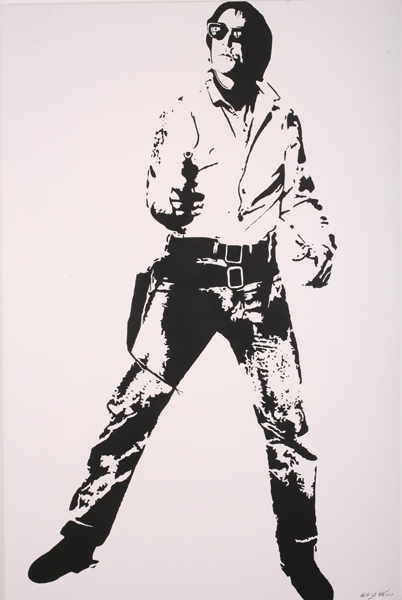 Blek le Rat  &nbsp -  <strong>Cowboy</strong> (2007<strong style = 'color:#635a27'></strong>)<bR /> Spraypaint on Canvas,   Edition 1 of 4,   86 3/4 x 55 1/4 inches