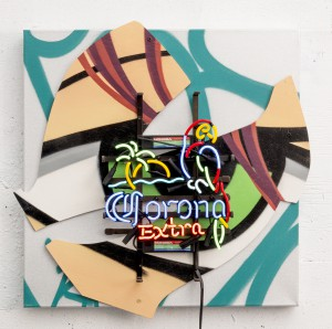 Crash   -  <strong>Corona</strong> (2014<strong style = 'color:#635a27'></strong>)<bR /> mixed media (plywood, canvas, neon, plastic and spray paint),   26 x 26 x 5 inches  (66.04 x 66.04 x 12.70 cm)
