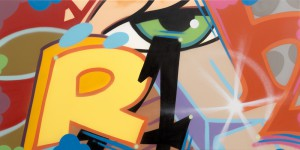 Crash     -  <strong>Crash</strong> (2014<strong style = 'color:#635a27'></strong>)<bR /> spray paint on canvas,   24 x 48 inches  (60.96 x 121.92 cm)