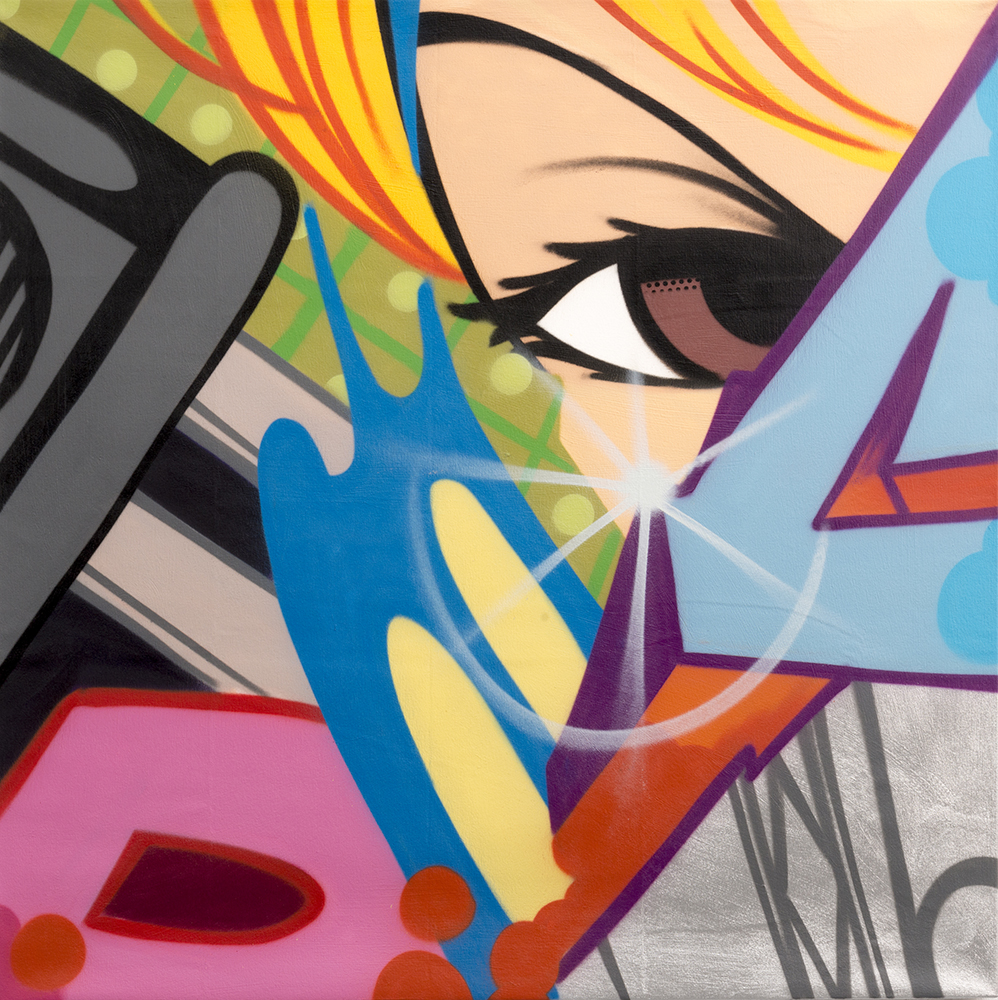 Crash   -  <strong>Electric Circus</strong> (2013<strong style = 'color:#635a27'></strong>)<bR /> spray paint on canvas,   46 x 46 inches  (116.84 x 116.84 cm)