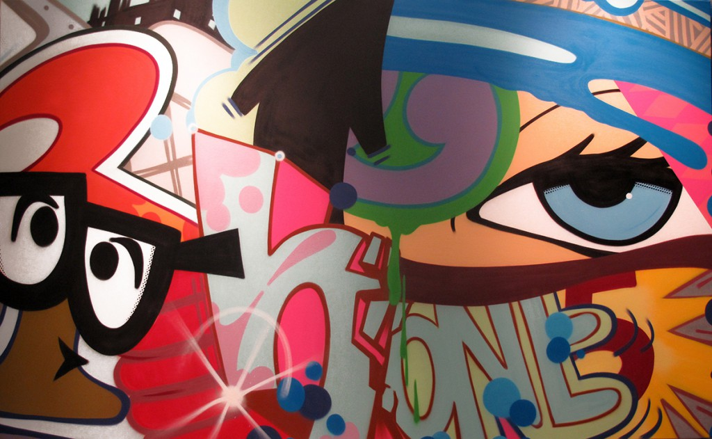 Crash   -  <strong>Get Your Eyes Checked</strong> (2014<strong style = 'color:#635a27'></strong>)<bR /> spray paint on canvas,   70 x 114 inches  (177.80 x 289.56 cm)