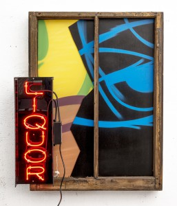 Crash   -  <strong>Liquor</strong> (2014<strong style = 'color:#635a27'></strong>)<bR /> mixed media (plywood, canvas, neon, plastic and spray paint),   40 x 33 x 6.5 inches  (101.60 x 83.82 x 16.51 cm)
