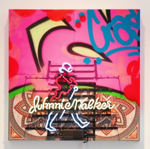 Crash     -  <strong>Johnny Walker Red</strong> (2014<strong style = 'color:#635a27'></strong>)<bR /> mixed media (plywood, canvas, neon, plastic, vinyl and spray paint),   24 x 24 inches  (60.96 x 60.96 cm)