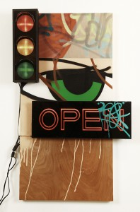 Crash     -  <strong>Untitled (Stop Light)</strong> (2014<strong style = 'color:#635a27'></strong>)<bR /> mixed media (plywood, canvas, neon, plastic and spray paint),   48 x 28 x 8 inches  (121.92 x 71.12 x 20.32 cm)