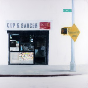Brett Amory -  <strong>Cup & Saucer (Waiting #242)</strong> (2015<strong style = 'color:#635a27'></strong>)<bR /> oil on canvas,   48 x 48 inches  (121.92 x 121.92 cm)