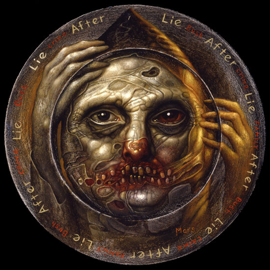 Chris  Mars -  <strong>Cycle of Lies</strong> (2007<strong style = 'color:#635a27'></strong>)<bR /> Oil on Panel,   11 inches in diameter