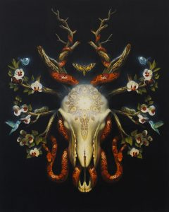 Martin Wittfooth -  <strong>Cycle</strong> (2015<strong style = 'color:#635a27'></strong>)<bR /> oil and gold leaf on canvas,   38 x 31 inches  (96.52 x 78.74 cm)