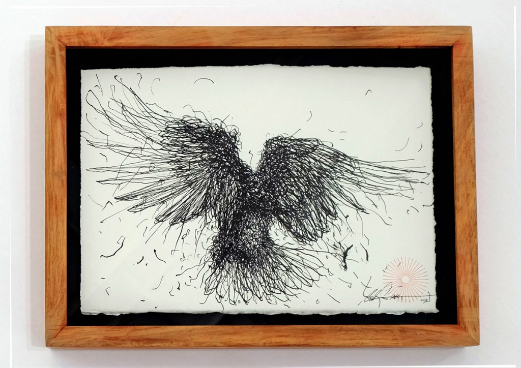 DALeast  &nbsp -  <strong>Untitled 14</strong> (2014<strong style = 'color:#635a27'></strong>)<bR /> ink on paper,   6.25 x 9 inches  (15.88 x 22.86 cm)  8.25 x 11 in, framed