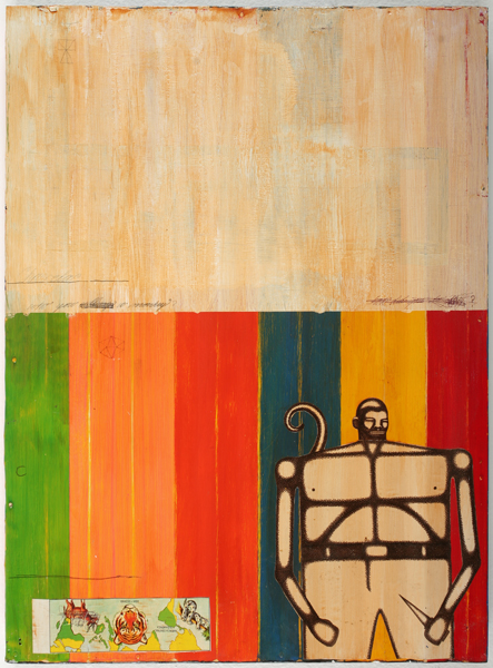 Date Farmers  &nbsp -  <strong>Chavela</strong> (2009<strong style = 'color:#635a27'></strong>)<bR /> mixed media on metal,   22 x 16.5 x 1.625 inches  (55.88 x 41.91 x 4.13 cm)