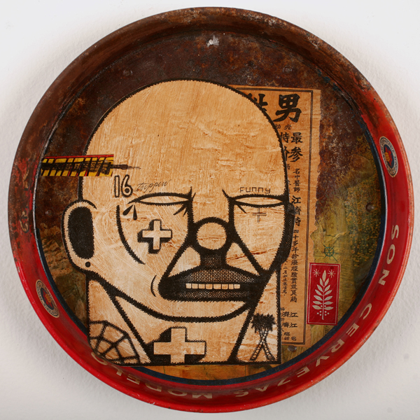 Date Farmers  &nbsp -  <strong>Trippin</strong> (2009<strong style = 'color:#635a27'></strong>)<bR /> mixed media on found metal tray,   13.25 x 13.25 x 2 inches  (33.66 x 33.66 x 5.08 cm)