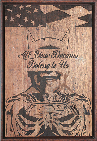 D*Face  &nbsp -  <strong>All Your Dreams</strong> (2009<strong style = 'color:#635a27'></strong>)<bR /> engraving on stained oak school desk, c. 1950, with over six decades of original graffiti, carvings and chewing gum,   35 3/8 x 23 5/8 inches [90 x 60 cm]