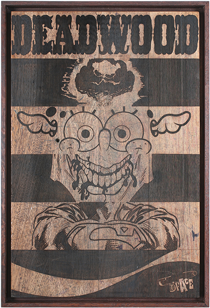 D*Face  &nbsp -  <strong>Deadwood</strong> (2009<strong style = 'color:#635a27'></strong>)<bR /> engraving on stained oak school desk, c. 1950, with over six decades of original graffiti, carvings and chewing gum,   35 3/8 x 23 5/8 inches [90 x 60 cm]