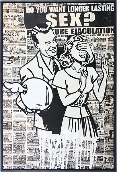 D*Face  &nbsp -  <strong>Longer Lasting Sex</strong> (2009<strong style = 'color:#635a27'></strong>)<bR /> HPM, screen print on panel,   edition of 3,   18 7/8 x 12 5/8 inches [48 x 32 cm]