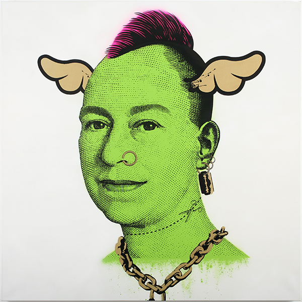 D*Face  &nbsp -  <strong>More Punk than You Punk (White)</strong> (2009<strong style = 'color:#635a27'></strong>)<bR /> spray paint and oil-based screen print on canvas,   edition of 1,   56 x 56 inches [142.2 x 142.2 cm]