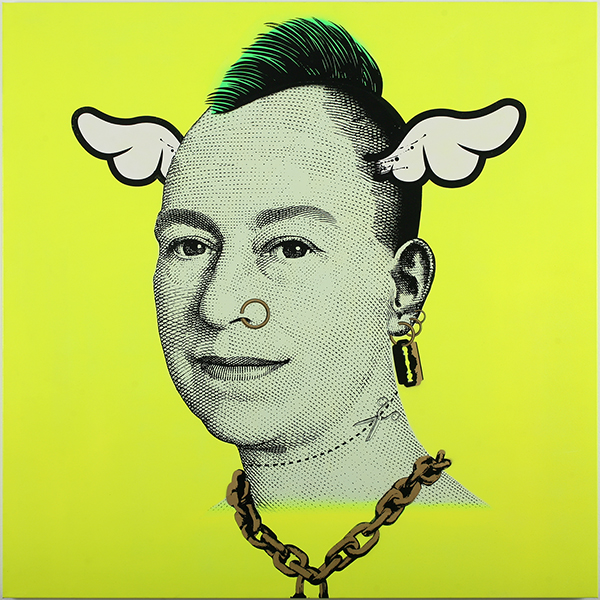 D*Face  &nbsp -  <strong>More Punk than You Punk (Yellow)</strong> (2009<strong style = 'color:#635a27'></strong>)<bR /> spray paint and oil-based screen print on canvas,   edition of 1,   56 x 56 inches [142.2 x 142.2 cm]