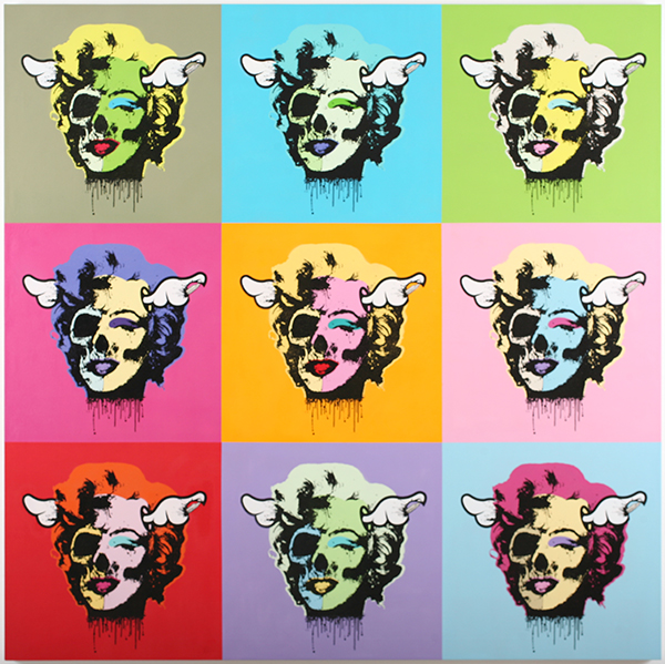 D*Face  &nbsp -  <strong>Multi Pop Tart</strong> (2009<strong style = 'color:#635a27'></strong>)<bR /> spray paint and oil-based screen print on canvas,   70 x 70 inches [177.8 x 177.8 cm]
