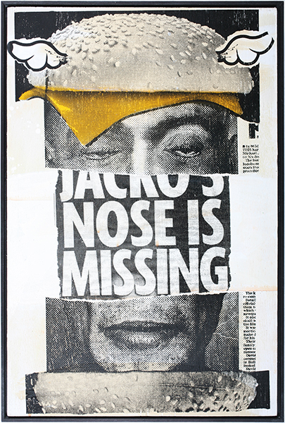 D*Face  &nbsp -  <strong>Jacko Burger</strong> (2009<strong style = 'color:#635a27'></strong>)<bR /> HPM, screen print on panel,   edition of 3,   18 7/8 x 12 5/8 inches [48 x 32 cm]