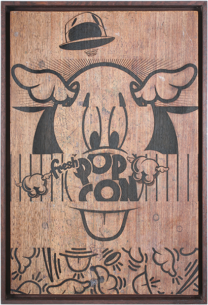 D*Face  &nbsp -  <strong>Pop Con</strong> (2009<strong style = 'color:#635a27'></strong>)<bR /> engraving on stained oak school desk, c. 1950, with over six decades of original graffiti, carvings and chewing gum,   35 3/8 x 23 5/8 inches [90 x 60 cm]