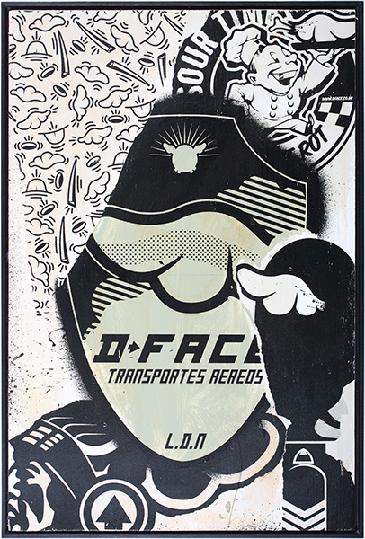 D*Face  &nbsp -  <strong>Air Transport</strong> (2009<strong style = 'color:#635a27'></strong>)<bR /> HPM, screen print on panel,   edition of 3,   18 7/8 x 12 5/8 inches [48 x 32 cm]
