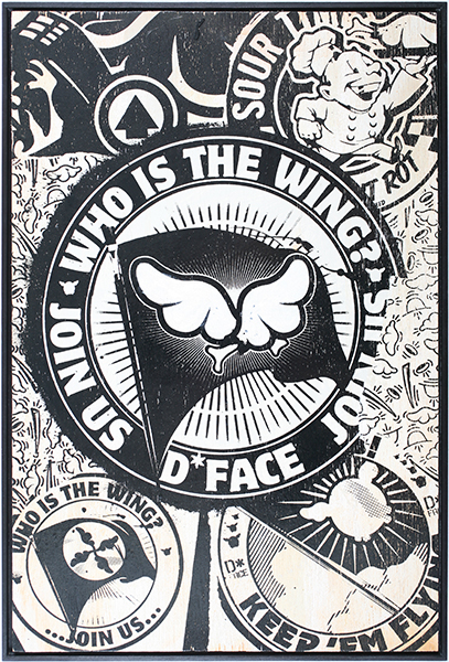 D*Face  &nbsp -  <strong>Who Is the Wing?</strong> (2009<strong style = 'color:#635a27'></strong>)<bR /> HPM, screen print on panel,   edition of 3,   18 7/8 x 12 5/8 inches [48 x 32 cm]