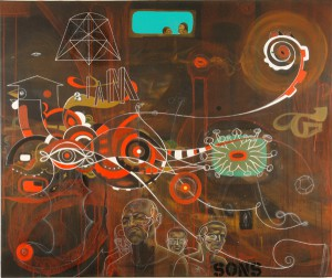 Doze  Green -  <strong>Limbo in the Phoenix Awakens Lost Generationz</strong> (2006<strong style = 'color:#635a27'></strong>)<bR /> Mixed Media on Canvas,   40 x 48 inches