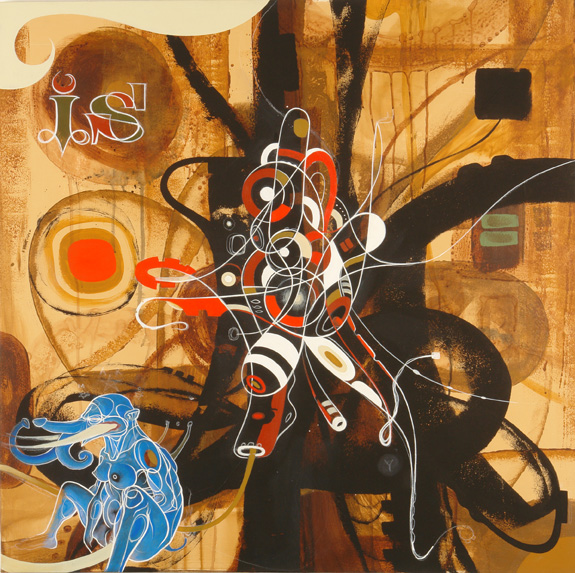 Doze  Green -  <strong>The Divine Feminine</strong> (2006<strong style = 'color:#635a27'></strong>)<bR /> Mixed Media on Canvas,   36 x 36 inches