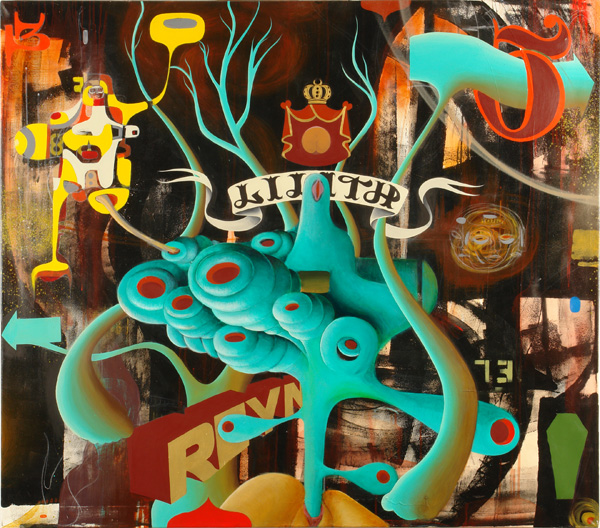 Doze  Green -  <strong>Lilith</strong> (2006<strong style = 'color:#635a27'></strong>)<bR /> Mixed Media on Canvas,   48 x 54 inches