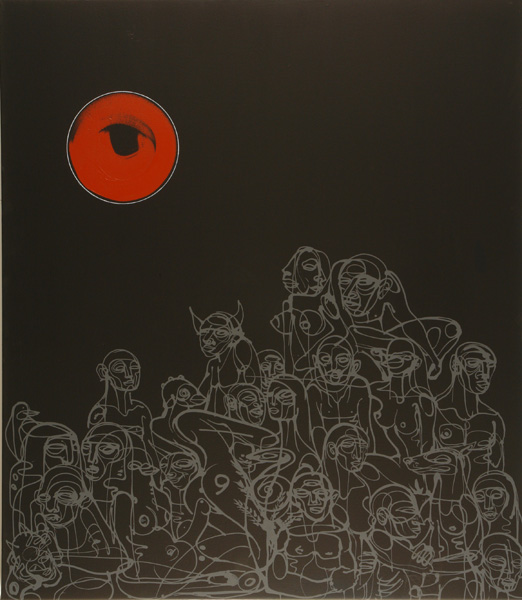 Doze  Green -  <strong>E-Din</strong> (2006<strong style = 'color:#635a27'></strong>)<bR /> Mixed Media on Canvas,   48 x 42 inches