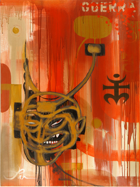 Doze  Green -  <strong>Panguerra</strong> (2006<strong style = 'color:#635a27'></strong>)<bR /> Mixed Media on Canvas,   40 x 30 inches