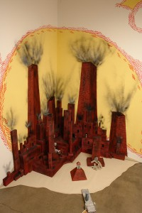 Andrew  Schoultz -  <strong>Untitled Installation</strong> (2006<strong style = 'color:#635a27'></strong>)<bR /> Mixed media with hand sculpted buildings and figures,   Dimensions variable