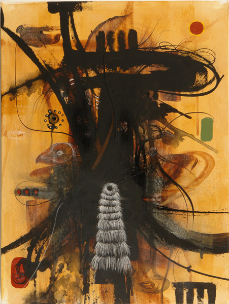 Doze  Green -  <strong>Channel 1 Ritual Portal Totemic Order</strong> (2006<strong style = 'color:#635a27'></strong>)<bR /> Mixed Media on Canvas,   24 x 18 inches
