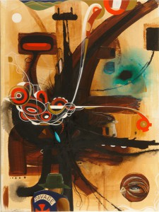 Doze  Green -  <strong>Channel 2 Physiastral Portal The Messenger (Coyote)</strong> (2006<strong style = 'color:#635a27'></strong>)<bR /> Mixed Media on Canvas,   24 x 18 inches