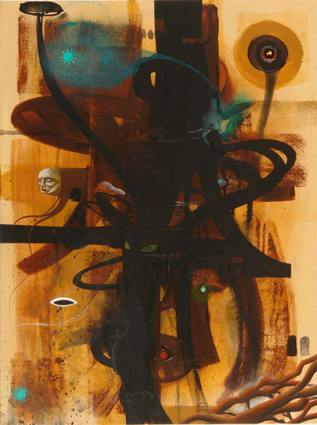 Doze  Green -  <strong>Channel 3 Triterra Portal The (Hosts)</strong> (2006<strong style = 'color:#635a27'></strong>)<bR /> Mixed Media on Canvas,   24 x 18 inches