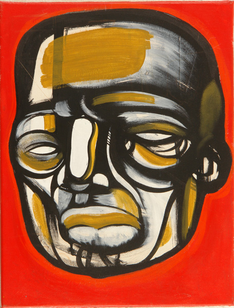 Doze  Green -  <strong>Elegua</strong> (2006<strong style = 'color:#635a27'></strong>)<bR /> Mixed Media on Canvas,   18 x 14 inches