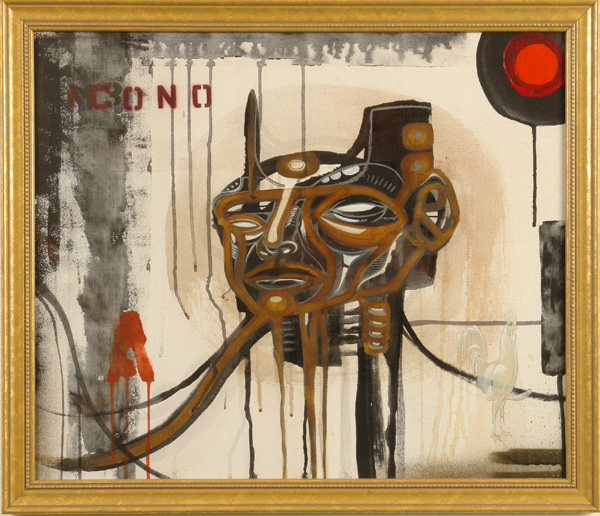 Doze  Green -  <strong>Bring me the Head of Ramm</strong> (2006<strong style = 'color:#635a27'></strong>)<bR /> Mixed Media on Panel,   Framed size: 22 1/2 x 26 3/4 inches