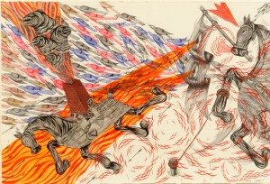 Andrew  Schoultz -  <strong>Horse and Birds</strong> (2006<strong style = 'color:#635a27'></strong>)<bR /> Acrylic on Paper,   Image size: 13 1/2 x 19 1/2 inches,   Framed size: 20 x 26 inches
