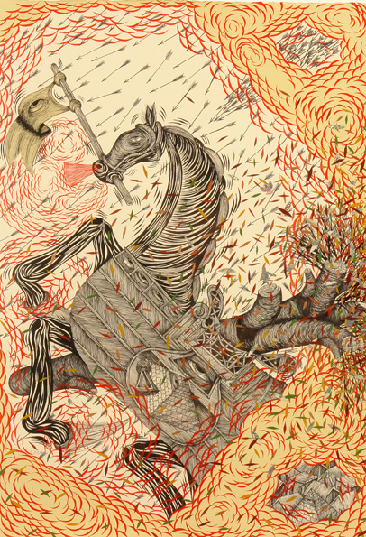 Andrew  Schoultz -  <strong>Horse Under Fire</strong> (2006<strong style = 'color:#635a27'></strong>)<bR /> Acrylic on Paper,   Framed size: 28 1/4 x 21 1/4 inches,   Image size: 22 x 14 1/2 inches
