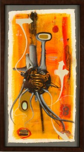 Doze  Green -  <strong>Safe Place</strong> (2006<strong style = 'color:#635a27'></strong>)<bR /> Mixed Media on Paper,   Framed size: 34 x 19 inches