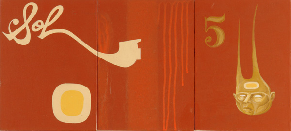 Doze  Green -  <strong>Sol</strong> (2006<strong style = 'color:#635a27'></strong>)<bR /> Mixed Media on Canvas,   Triptych,   12 x 27 inches