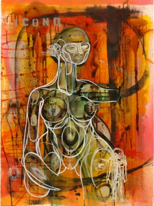 Doze  Green -  <strong>Jez</strong> (2006<strong style = 'color:#635a27'></strong>)<bR /> Mixed Media on Paper,   29 3/4 x 22 inches