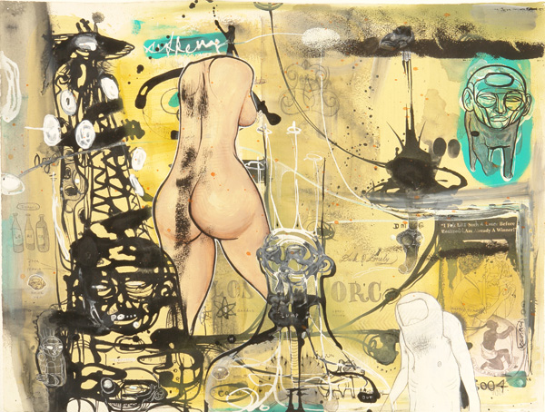 Doze  Green -  <strong>Loser</strong> (2006<strong style = 'color:#635a27'></strong>)<bR /> Mixed Media on Paper,   22 3/4 x 30 inches