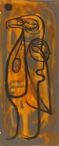 Doze  Green -  <strong>Gull Spirit</strong> (2006<strong style = 'color:#635a27'></strong>)<bR /> Mixed Media on Metal,   23 1/2 x 9 1/2 inches