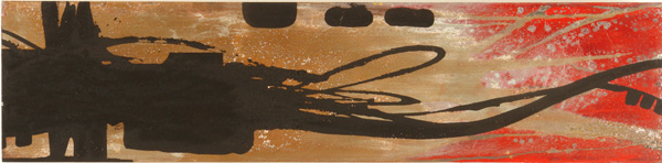 Doze  Green -  <strong>3 Element Dragon (right panel detail)</strong> (2006<strong style = 'color:#635a27'></strong>)<bR /> Mixed Media on Wood,   Triptych,   7 x 87 inches