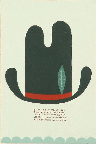 Jim  Houser -  <strong>Beneath This Hat</strong> (2005<strong style = 'color:#635a27'></strong>)<bR /> Acrylic on wood,   11 x 7 1/4 inches