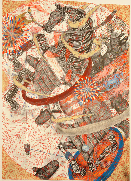 Andrew  Schoultz -  <strong>Horse Through Hoops</strong> (2006<strong style = 'color:#635a27'></strong>)<bR /> Acrylic on Paper,   9 x 6 feet