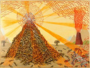 Andrew  Schoultz -  <strong>Illuminati Pile of Sticks</strong> (2006<strong style = 'color:#635a27'></strong>)<bR /> Acrylic on Wood,   36 x 48 1/2 inches