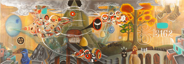 Doze  Green -  <strong>The Overload</strong> (2006<strong style = 'color:#635a27'></strong>)<bR /> Mixed Media on Canvas,   Triptych,   3 x 9 feet